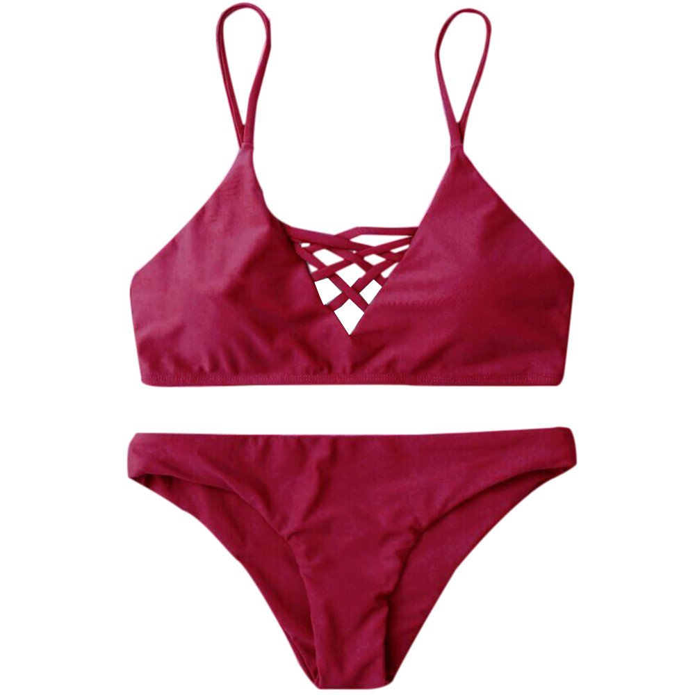 Bikini Trajes de Baño Mujer, Traje de Baño Mujer Bikini Conjunto Vendaje Push-Up Traje de Baño Baño de Ropa de Playa 2018 ❤️ Manadlian