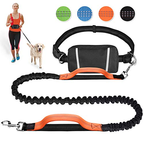 (Hands Free Dog Leash Retractable Bungee Heavy Duty Dog Running Waist Leash for Running Walking Jogging Training Hiking with Medium to Large Dogs, Waist Belt Pouch, Reflective Stitches, Dual Handle)