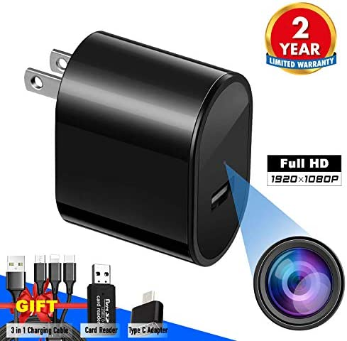 Spy Camera USB Phone Charger by Elleety -1080p HD Hidden Camera, Wall Plug USB Charger Motion Detection, AC Adapter Nanny Camera Home, Kids, Baby, Pet Monitoring cam