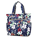 Nawoshow Women Lightweight Nylon Floral Satchel Shoulder Bag Waterproof Handbags Shopping Tote Bags