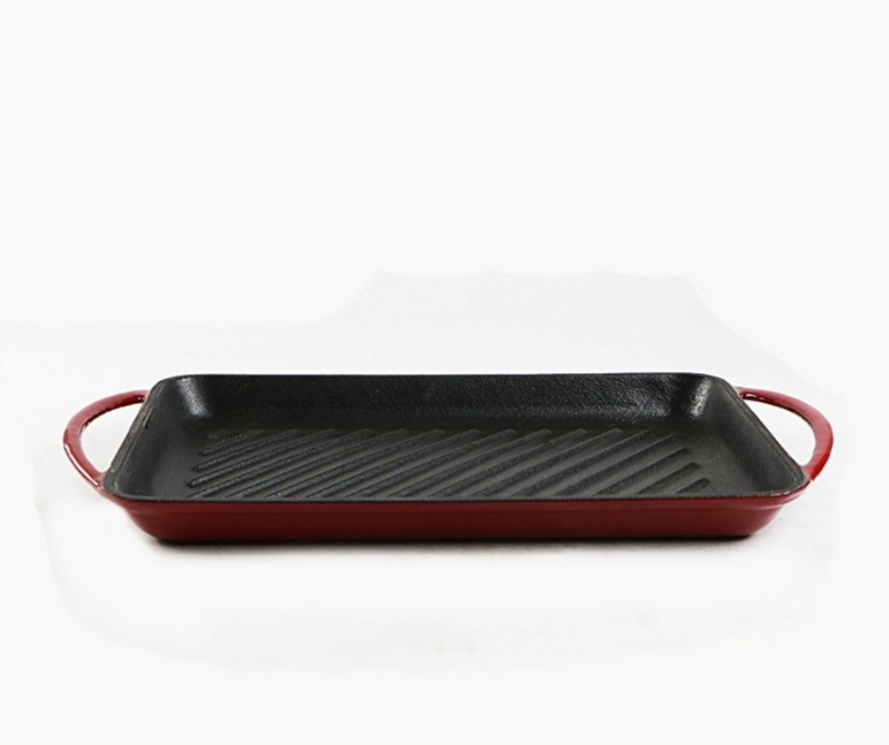 Enameled Cast Iron Rectangle Skillet Grill ( Island Spice Red ,2 QT,13 inch7.8 inch)Loop Side Handles Broil Braise Bake Roast