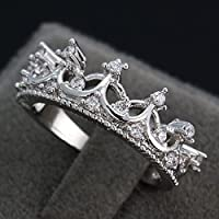 khamchanot Fashion Princess 925 Silver Rhinestone Crown Wedding Ring US Size 6-10 (10)
