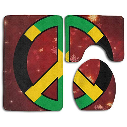 - 3 Piece Bathroom Set Bath Mat Rug Lid Toilet Covers Toilet Seat Cushion Non-Slip Rubber Backing (Jamaica Flag Peace)