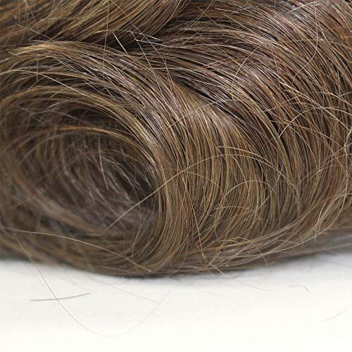 """""""Versalite Base"""" Custom Customized Men Human Hair System Replacement Toupee Hairpiece Installation Wig Prosthesis for Hair Loss Alopecia(#6 Brown Color)"""