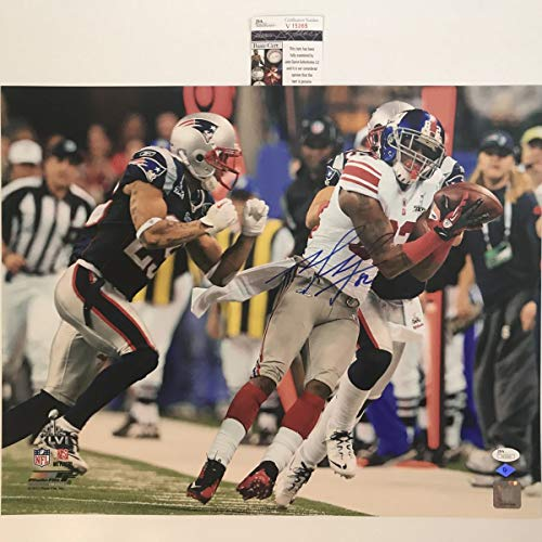 Autographed/Signed Mario Manningham New York Giants Super Bowl Catch 16x20 Football Photo JSA COA (Poster Bowl Giants Super)