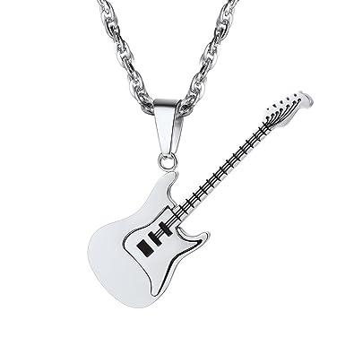 Prosteel Guitare Collier Chaîne Bijoux Noir Musique Garçon Or Acierplaqué Personnalisable Tendance Pour Jaunemétal Et Homme Pendentif CWEderxoQB