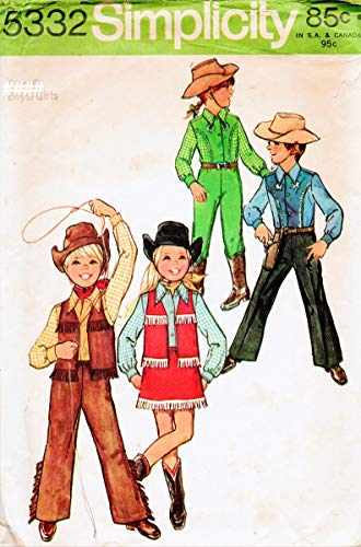 (Simplicity 5332 Boys' and Girls' Western Outfits Vintage Sewing Pattern,Vest, Shirt, Pants and Skirt Check Listings for Size)