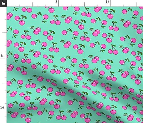 Spoonflower Pink Cherries Fabric - Retro Cherry Kitchen Decor Rockabilly Rocknroll Kawaii Fruits Harajuku Summer Fruits Retro by Mezzo Printed on Petal Signature Cotton Fabric by The ()