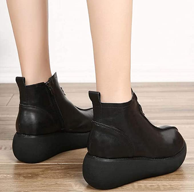 57dd693a5 Grueso De Fondo De La Plataforma Zapatos Botines Mujeres Dedo del Pie  Redondo Cuña Tacón Estilo Chino Zapatos De Vestir OL Corte Zapatos UE  Tamaño 34-40  ...