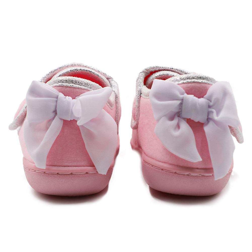 CHUANGLI Toddlers Kids Girl Slipper Bowknot Princess Adjustable Cotton Slip-on Shoes for Indoor//Outdoor Anti-Slip House Shoes