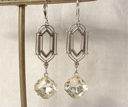 Art Deco Rhinestone Dangle Earrings, Long Square Clear Crystal Antiqued Silver Bridal Drops, Flapper Gatsby Bridesmaid 1920s Vintage Inspired Jewelry ()
