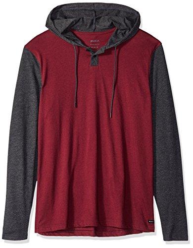 - RVCA Men's Pick UP Hooded Long Sleeve Henley Shirt, Bordeaux, S