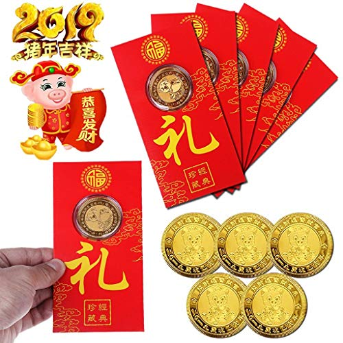 JETTINGBUY 10Pack Chinese 2019 Gold Pig Year Gift Souvenir Set, 10 HongBao Red Envelopes+10 Commemorative Coins, Gilding Present Souvenir New Year Craft Gift Lucky Zodiac Gifts Blessing Souvenir