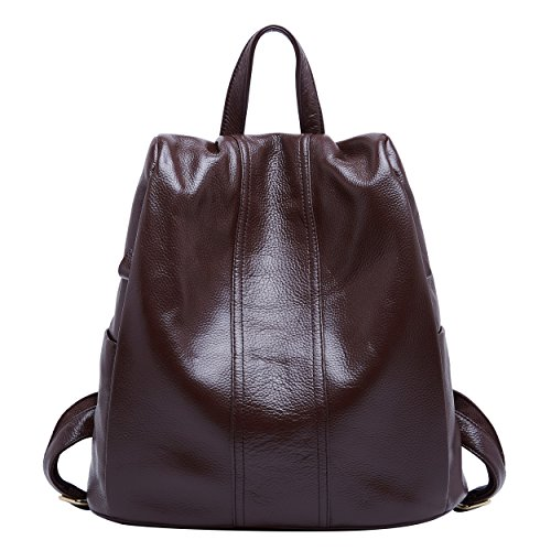 BOYATU Genuine Leather Backpack for Women Anti-theft Rucksack Ladies Travel Bag(Coffee)