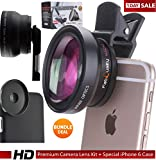 FabQuality SUPER SPECIAL iPhone Camera Lens Kit with 0.45X Super Wide Angle Lens + 12.5X Macro Lens, Clip-On Cell Phone Lens + BONUS CASE Inc. for ALL Phones 6s / 6 Plus / 5s Samsung Galaxy