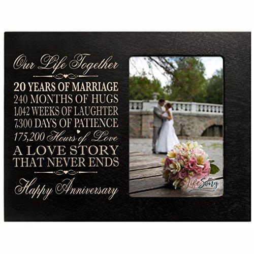 LifeSong Milestones Twenty Year for her him Couple Custom Engraved 20th Year Wedding Anniversary Celebration Gift Frame Holds 4x6 Photo Frame Size 10