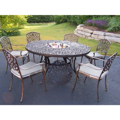 Oakland Mississippi Cast Aluminum 60-Inch Table with 6 St...