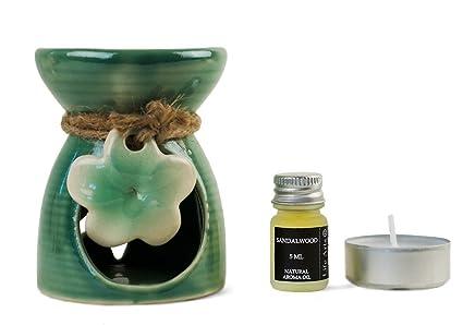 Lirio Quemador de Aceite Madera de Sándalo Conjunto de Regalo Oliva (9cm x 7cm x