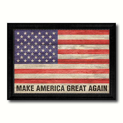 Make America Great Again USA Flag Texture Canvas Print Black Picture Frame Home Decor Wall Art Decoration Gift Ideas Signs - Again Great Make Frame America