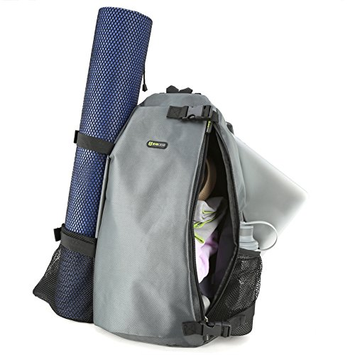 Evecase Yoga Sport Multi Purpose Crossbody Sling Bag BackPack Fits Most Large Yoga Mats For Gym, Hot Yoga, pilates, Workout, Sport, Beach, Travel, Hiking and More - Gray