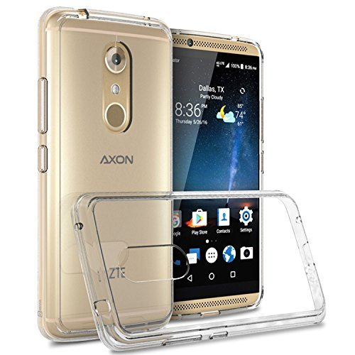ZTE Axon 7 Clear Case, CoverON [ClearGuard Series] Hard Clear Back Cover with Flexible TPU Bumpers Slim Fit Phone Cover Case for ZTE Axon 7 - Clear