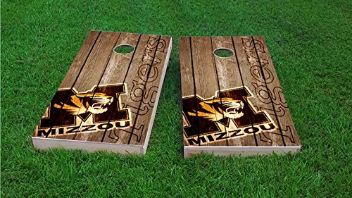 Tailgate Pro's Missouri Tigers Distressed Cornhole Boards, ACA Corn Hole Set, Comes with 2 Boards and 8 All Weather Bags