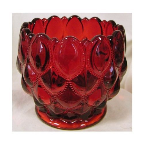 Ruby Red Glass Elizabeth Pattern Candy Dish Rose Bowl