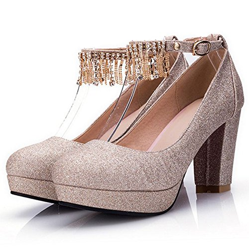Bout Femmes Coolcept Chaussures Gold Briller Chunky Sangle De Sandales Cheville Rond qFrnrYxdwR