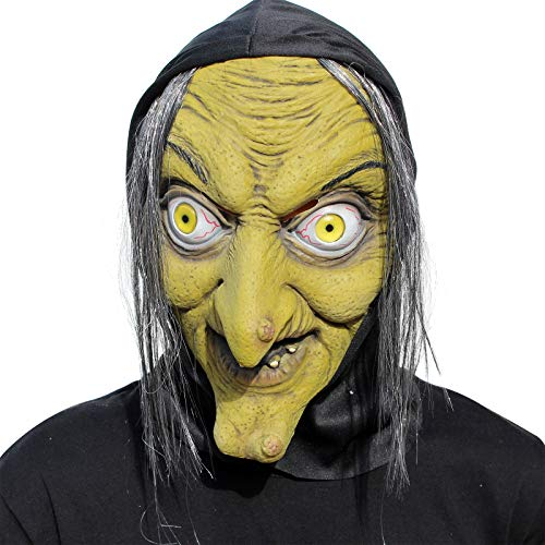 PartyCostume - Old Woman Witch Mask - Halloween Scary Horror Cosplay Costume