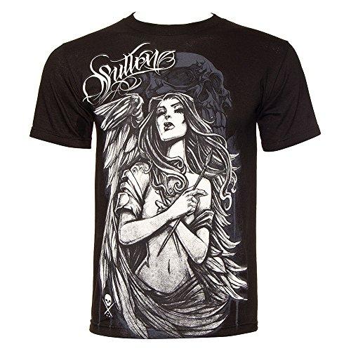 Sullen Mens Angel Brush T Shirt - Large, Black