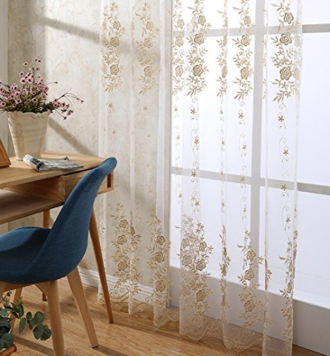 ASide BSide European Style Gorgeous Embroidered Sheer Curtains Drapes Rod Pockets Voile Home Decorations For Living Room Dining Room and Kids Room (1 Panel, W 52 x L 95 inch, Gold) by ASide BSide