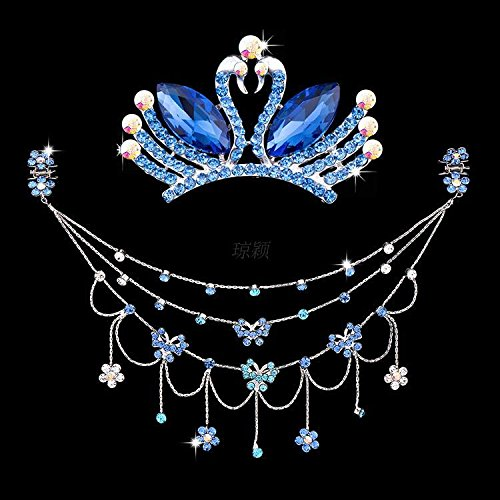 Generic Korean children Latin dance headdress forehead between the eyebrows fall chain frontlet crown tiara Princess Crystal hairpin gripper chain girls