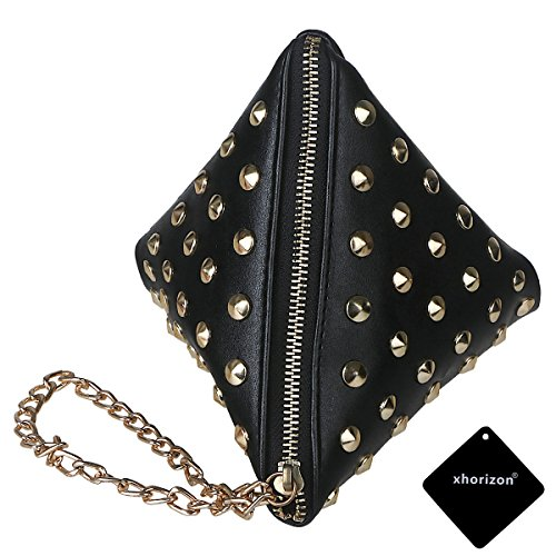 xhorizon TM SR Women PU Leather Rivet Studded Triangle Purse Wristlet Clutch Wallet Handbag by xhorizon