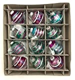 "Shiny Bright Rounds & Drops Set of 12 Glass Christmas Tree Ornaments - by Christopher Radko (1.75"" Tall)"
