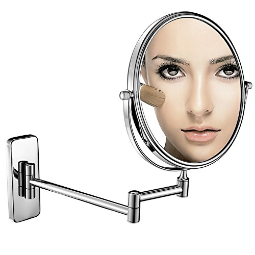 HOROW Beauty Mirror 8 Inch Round 360 Degree Swivel Double-Sided Magnifying Makeup Mirror Wall Mounted Extending (Bathroom Mirror Extending)