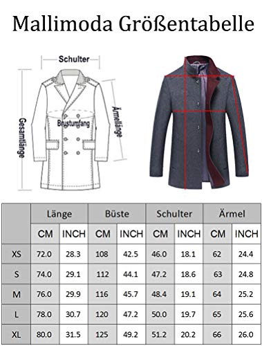 Mallimoda Manteau Homme Laine Slim Parka Simple Casual Affaires Duffle-Coat