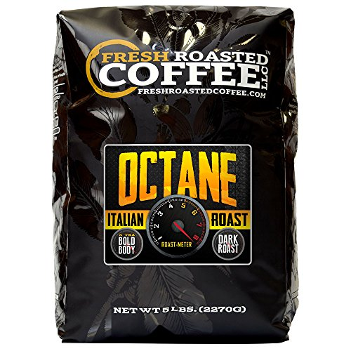 Fresh Roasted Coffee LLC, Octane Italian Roast Coffee, Dark Roast, Extra Bold, Whole Bean, 5 Pound Bag