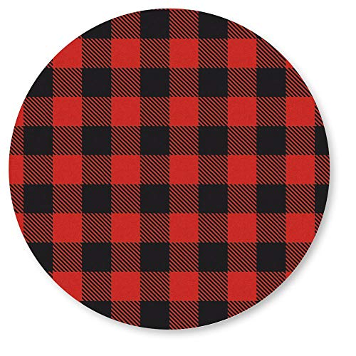 Buffalo Plaid Seals, 1 1/4 Inch, Red and Black Plaid Seals, Self-Adhesive, 140 Count