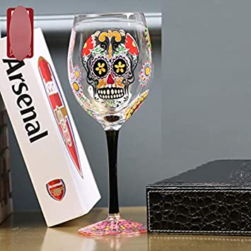 Copa De Vino Pintada A Mano Calavera Roja Glass Copas De Vino Blancas - 280 ML, Aniversario Día De San Valentín Cumpleaños: Amazon.es: Hogar