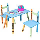 Globe House Products GHP 2-Pcs Crayon Themed Pine Wood MDF Kids Toddlers Playroom Chairs & Table Set