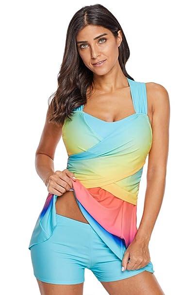BOZEVON Mujer Traje de Baño Tallas Grandes - Acolchado con Arco Iris Vestido Conjunto de Tankinis Bañador