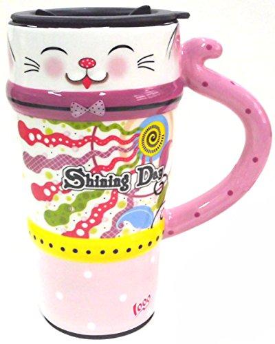 Viidor Lovely Cat Multifunction Ceramic Gift Mug, 21oz