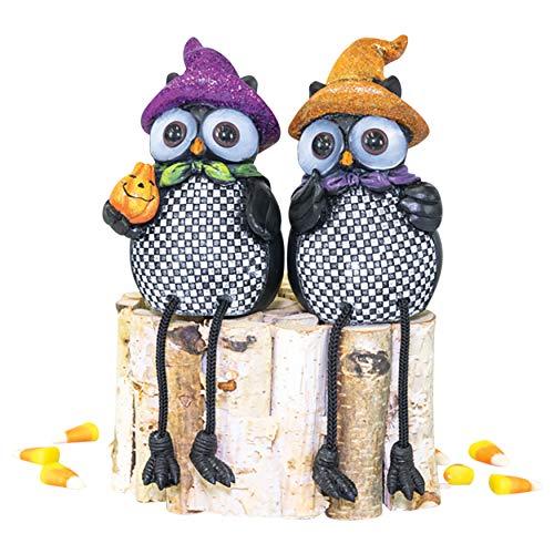 Hanna's Handiworks Spooky Checkered Owl Trick Or Treat Friends 7.5 x 3 Inch Resin Stone Decorative Halloween Shelf Sitter, Set of ()
