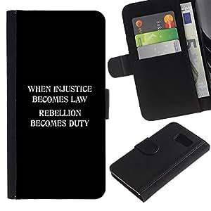 Strong Billetera de Cuero Caso Titular de la tarjeta Carcasa Funda para Samsung Galaxy S6 SM-G920/injustice law freedom rebellion duty