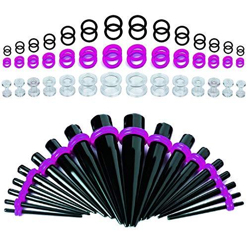 BodyJ4You 70PC Gauges Kit Ear Stretching 8G-12mm Screw Fit Plug Tunnel Taper Black Purple Acrylic
