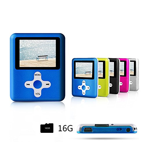 ACEE DEAL MP3/MP4 Player(Blue), Including a 16GB Micro SD card, with MINI USB Port Slim Classic Digital MP4 Player MP3 Player, Music Player, E-book, Photo viewing, Video Playing and Voice Recorder .