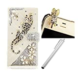 Samsung Galaxy Grand Prime G530H G5308W Cellphone Case,Vandot 3in1 Set PU Leather 3D Shiny Diamond Cover Magnetic Closure Flip Stand Wallet Case Skin Shell With Card Slots+Rhinestone Cat Anti Dust Plug+Stylus Pen-Black Spots Leopard Flower