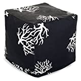 Majestic Home Goods Black Coral Indoor/Outdoor Bean Bag Ottoman Pouf Cube 17'' L x 17'' W x 17'' H