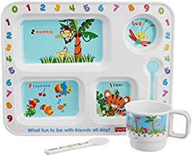 Fisher Price Learning 1,2,3 Rectangular Kids Dinner Gift Set, 3-Pieces