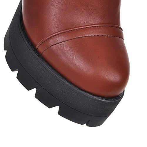 Top Low High Round Pu Closed Boots Zipper Heels Toe Women's Brown Allhqfashion qO7BUU